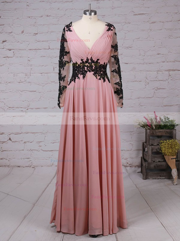 A-line V-neck Floor-length Chiffon Prom Dresses with Appliques Lace Ruffle #Favs02016853