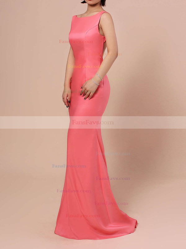 Trumpet/Mermaid Scoop Neck Silk-like Satin Sweep Train Prom Dresses #Favs02016324