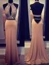 Trumpet/Mermaid High Neck Sweep Train Silk-like Satin Prom Dresses with Beading #Favs02016916