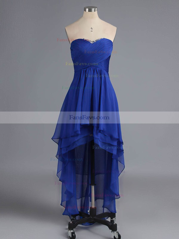 Empire Sweetheart Asymmetrical Chiffon Prom Dresses with Beading Ruffle #Favs02042216