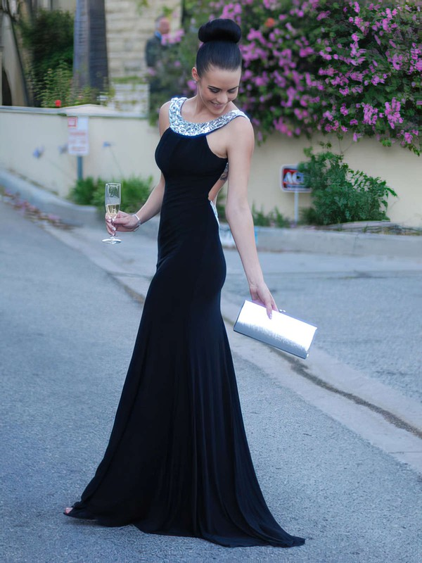 Trumpet/Mermaid Scoop Neck Jersey Sweep Train Crystal Detailing Prom Dresses #Favs02016327