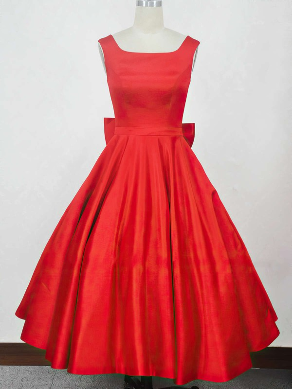 Ball Gown Square Neckline Satin Tea-length Bow Prom Dresses #Favs020104134