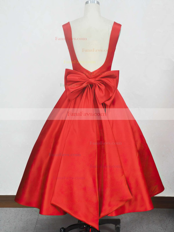 Ball Gown Square Neckline Tea-length Satin Prom Dresses with Bow #Favs020104134