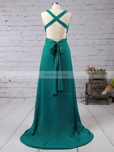 Sheath/Column V-neck Floor-length Silk-like Satin Prom Dresses with Sashes Split Front #Favs02018713