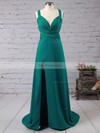 Sheath/Column V-neck Floor-length Silk-like Satin Prom Dresses with Sashes Split Front #Favs02018713