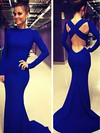 Trumpet/Mermaid Scoop Neck Jersey Sweep Train Prom Dresses #Favs02018992