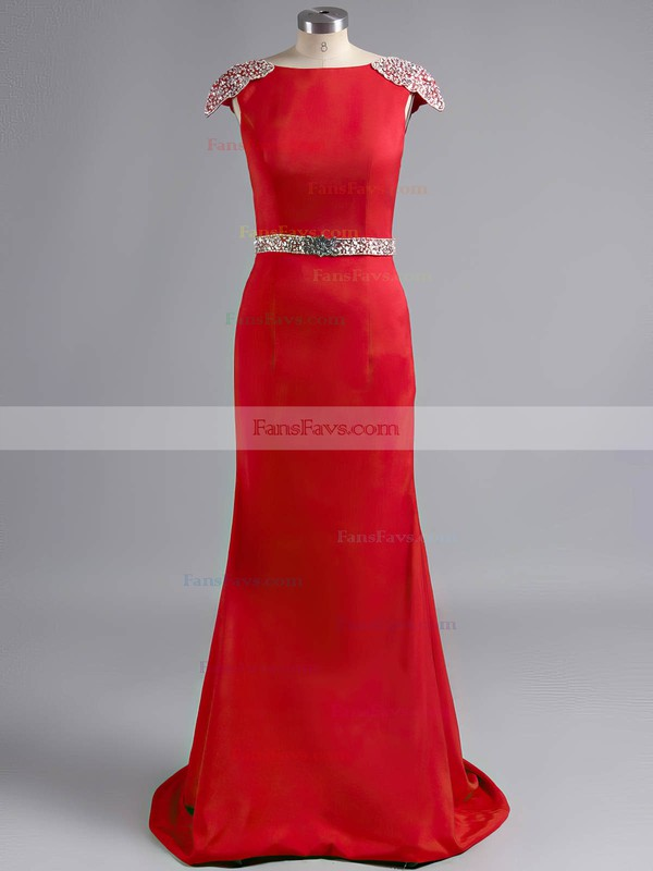 Red Sheath/Column Silk-like Satin Appliques Lace with Cap Straps Gorgeous Prom Dress #Favs02019924