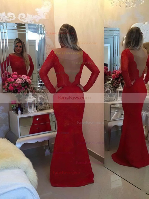 Trumpet/Mermaid Scoop Neck Lace Floor-length Sashes / Ribbons Prom Dresses #Favs020101486