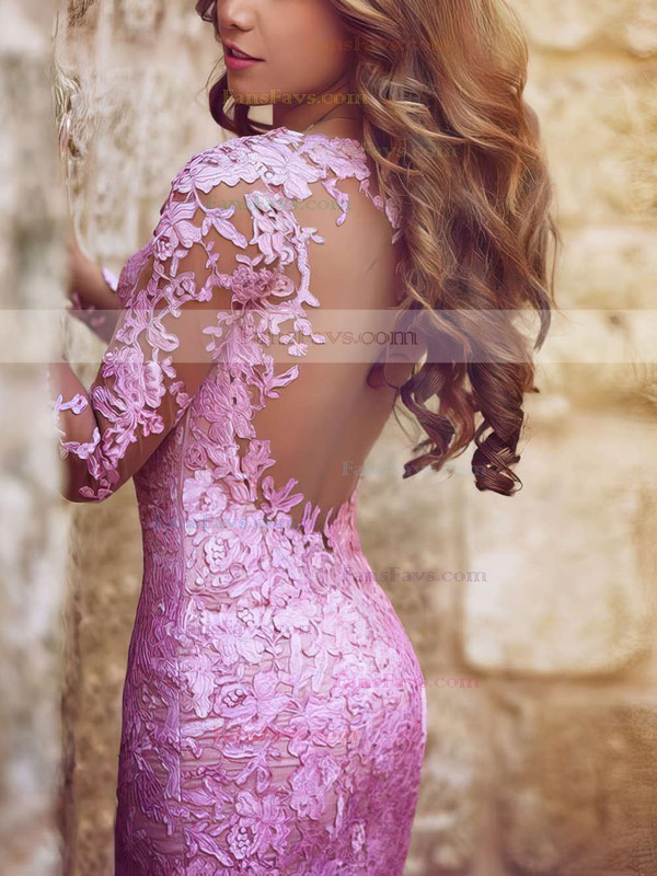 Trumpet/Mermaid Scoop Neck Tulle Sweep Train Appliques Lace Prom Dresses #Favs020101852