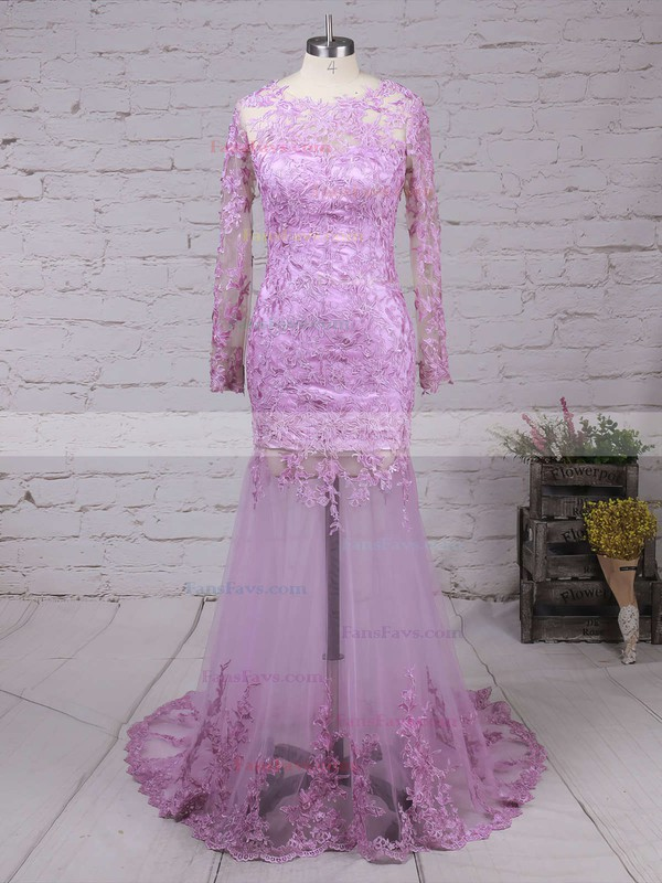 Trumpet/Mermaid Scoop Neck Sweep Train Tulle Prom Dresses with Appliques Lace #Favs020101852