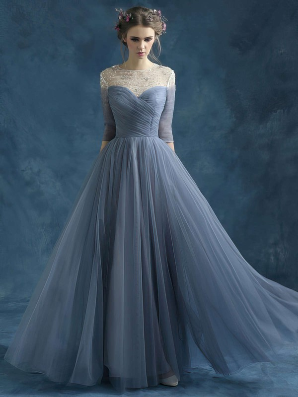 A-line Scoop Neck Tulle Floor-length Beading Prom Dresses #Favs020102046