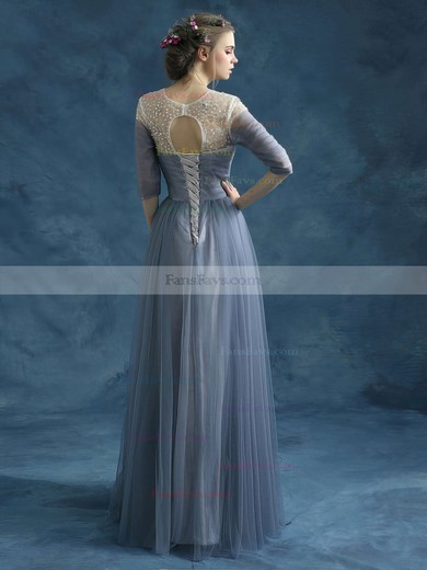 A-line Scoop Neck Floor-length Tulle Prom Dresses with Beading Ruffle #Favs020102046