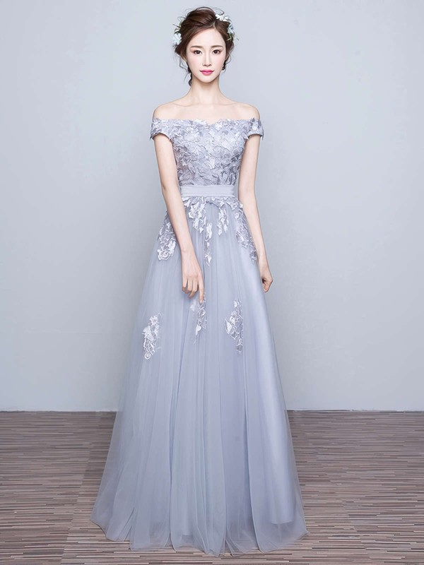 A-line Off-the-shoulder Floor-length Tulle Prom Dresses with Appliques Lace Sashes #Favs020102047