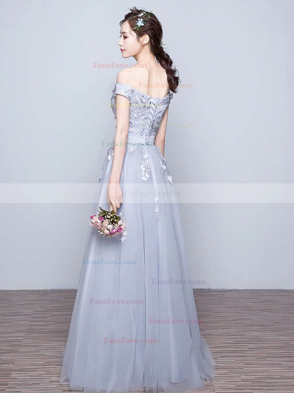 A-line Off-the-shoulder Tulle Floor-length Appliques Lace Prom Dresses #Favs020102047