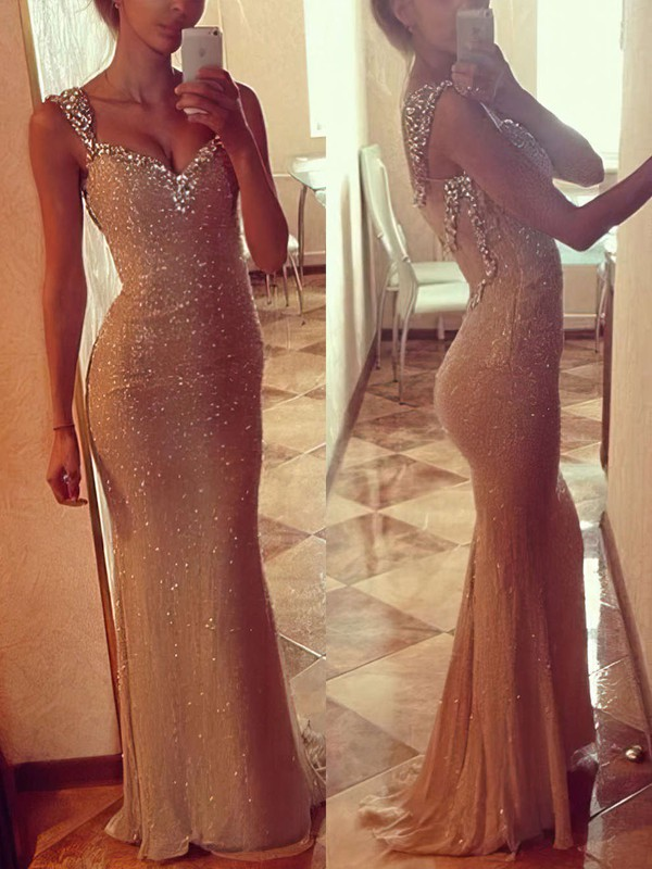 Trumpet/Mermaid V-neck Sweep Train Sequined Prom Dresses with Beading #Favs02016911