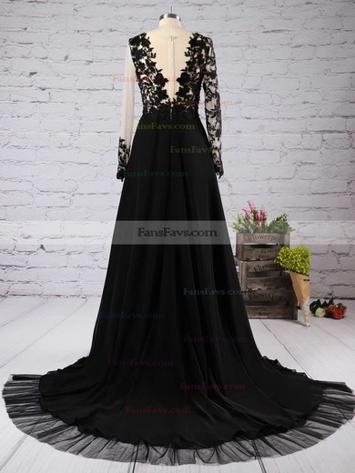 A-line Scoop Neck Court Train Tulle Prom Dresses with Appliques Lace Split Front #Favs020102059
