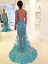 Trumpet/Mermaid V-neck Sweep Train Tulle Prom Dresses with Appliques Lace #Favs020102064