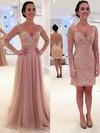 A-line V-neck Tulle Detachable Appliques Lace Prom Dresses #Favs020102076