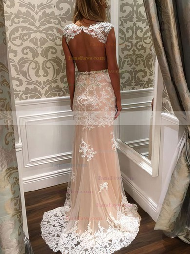 Sheath/Column Scoop Neck Sweep Train Tulle Prom Dresses with Appliques Lace Beading #Favs020102160