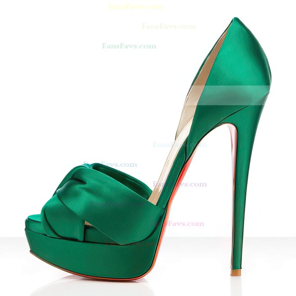 Women's Green Satin Pumps