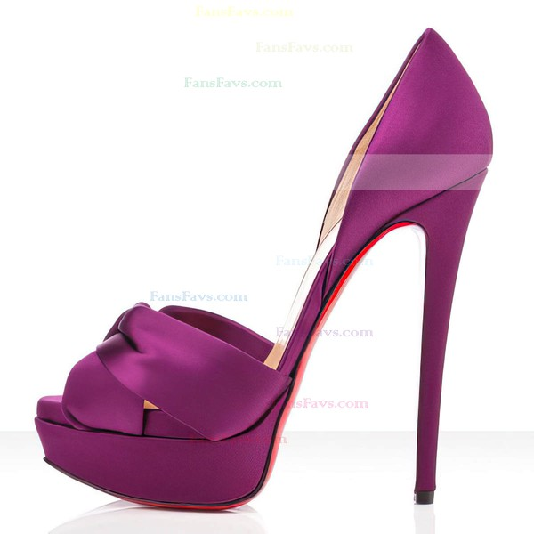 Women's Purple Satin Pumps with Ruched