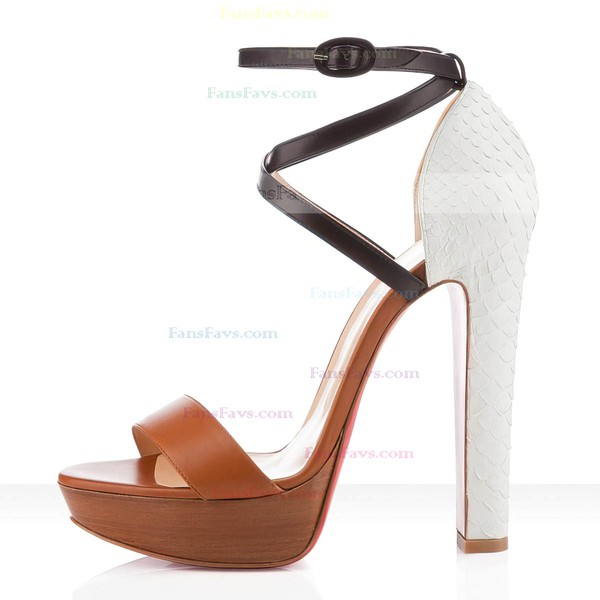 Women's Brown Real Leather Pumps with Buckle