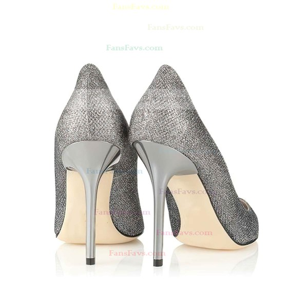 Women's Gray Sparkling Glitter Closed Toe
