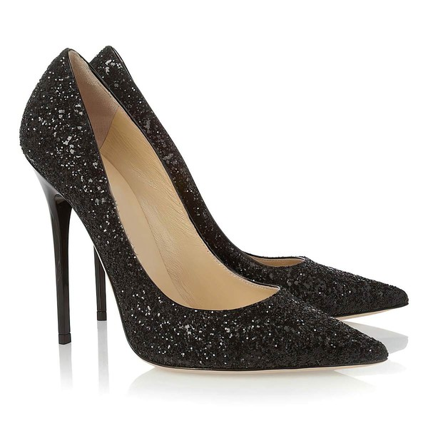 Women's Black Sparkling Glitter Pumps #Favs03030302