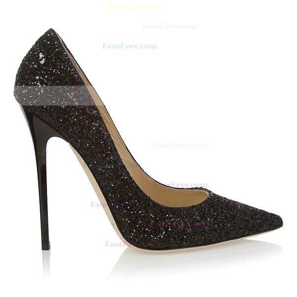 Women's Black Sparkling Glitter Pumps
