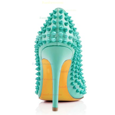 Women's Green Patent Leather Closed Toe with Rivet #Favs03030307