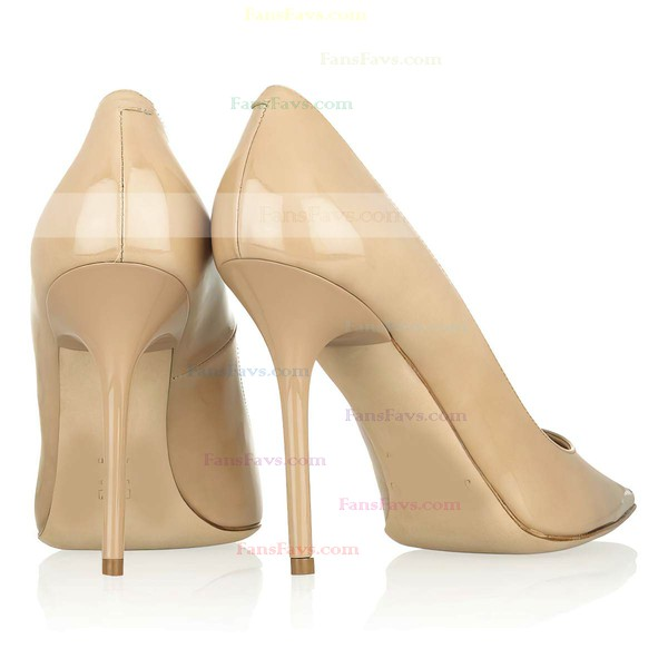 Women's Camel Patent Leather Closed Toe