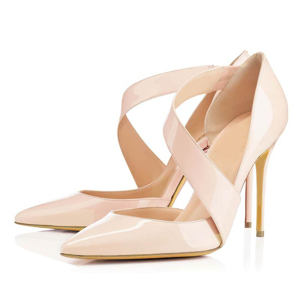 Women's Pale Pink Patent Leather Pumps #Favs03030314