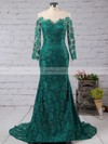 Trumpet/Mermaid Scoop Neck Lace Sweep Train Appliques Lace Prom Dresses #Favs020102176