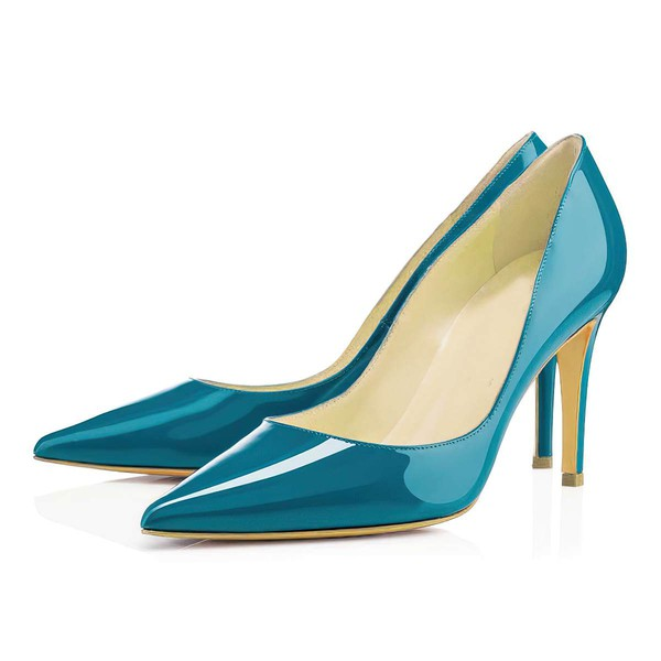 Women's Blue Patent Leather Pumps #Favs03030321