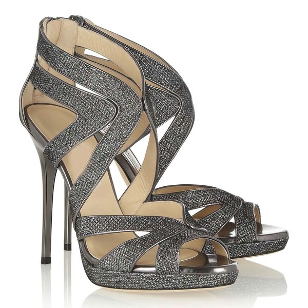 Women's Gray Sparkling Glitter Pumps with Zipper #Favs03030334
