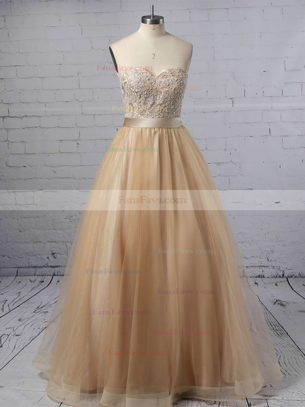 Ball Gown Sweetheart Tulle Floor-length Appliques Lace Prom Dresses #Favs020102180