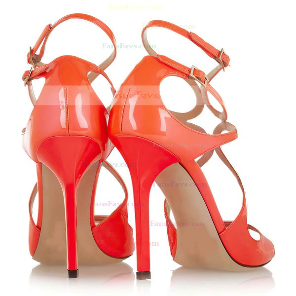 Women's Orange Patent Leather Pumps with Buckle
