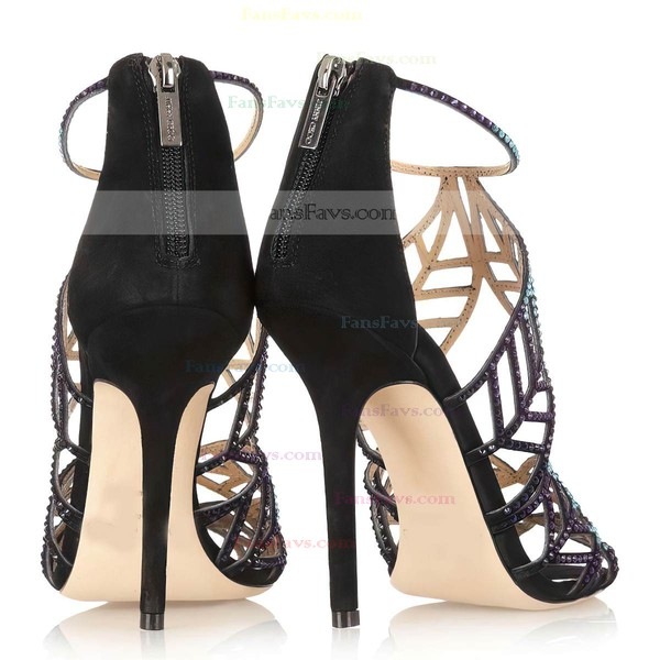 Women's Black Suede Pumps with Zipper/Crystal
