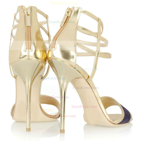 Women's Gold Patent Leather Pumps with Zipper