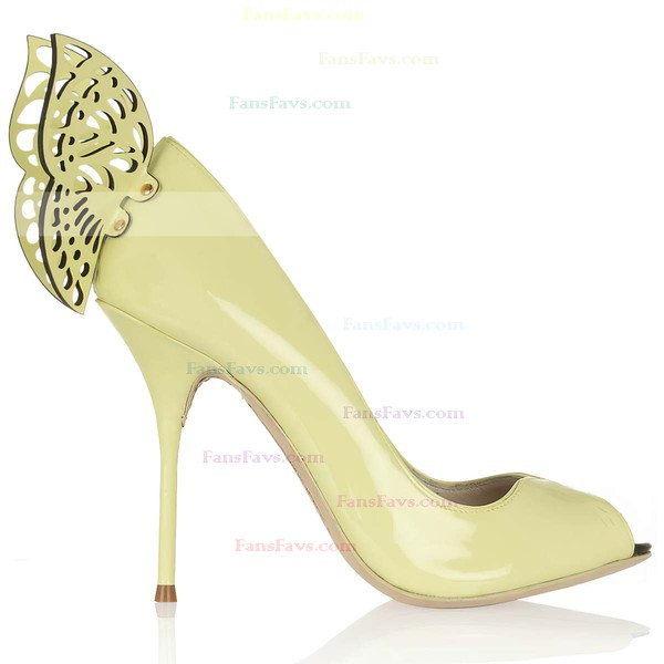 Women's Yellow Patent Leather Peep Toe with Rivet