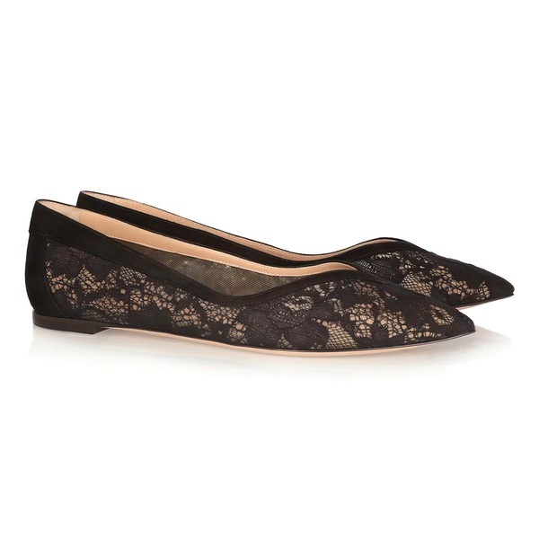 Women's Black Lace Closed Toe