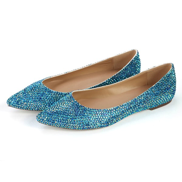 Women's Blue Real Leather Closed Toe with Crystal #Favs03030359