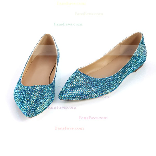 Women's Blue Real Leather Closed Toe with Crystal